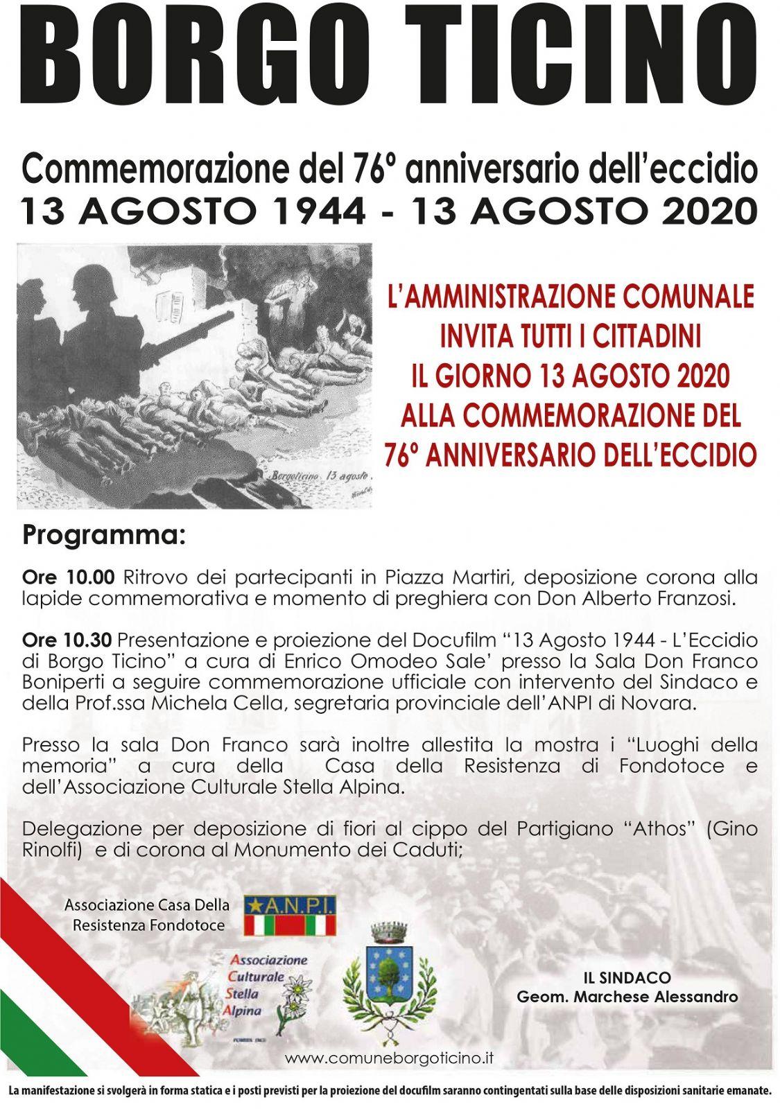 COMMEMORAZIONE DEL 76° ECCIDIO 13 AGOSTO 1944-13 AGOSTO 2020